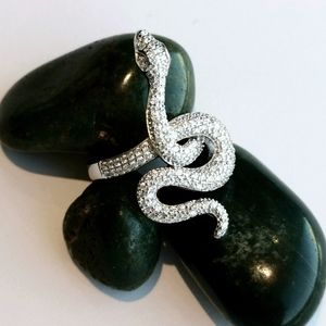 New, sterling silver CZ snake serpent ring sz 8